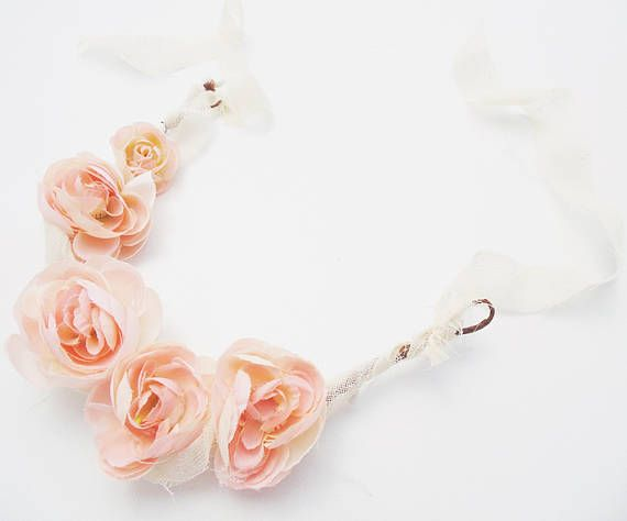 Delicate Baby Flower Crown with Light Pink Flowers Tie Back