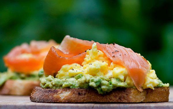 Open Face Sandwich -  Avocado, Egg and Smoked Salmon