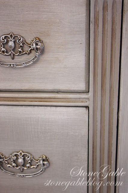 A gorgeous buffet finished in Paris Grey Chalk Paint® decorative paint by Annie Sloan with a wash of Pure White   By Stone Gable