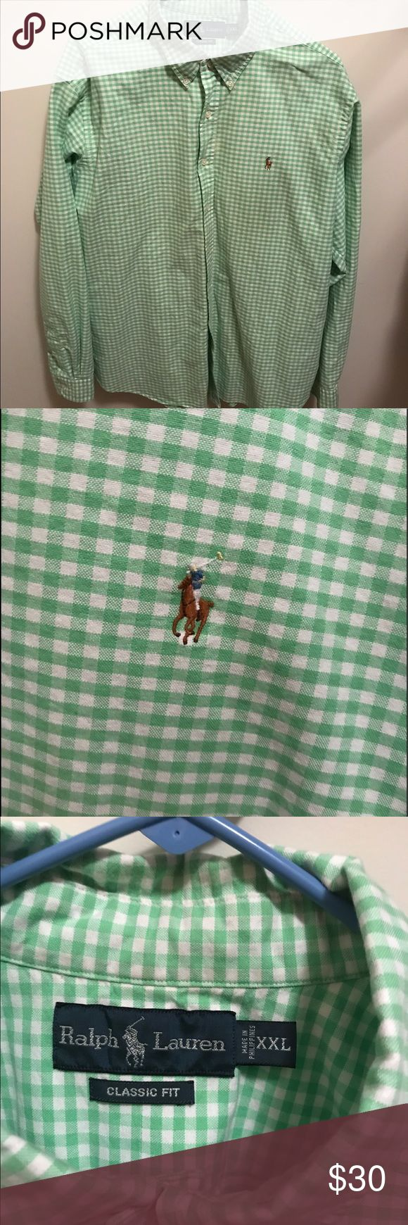Ralph Lauren classic gingham green button down XXL Classic fit Ralph Lauren gingham shirt in green. Size XXL. Worn 5-6 times. Like new! Goes great with jeans or khakis and shorts!  Please find exact sizing online- classic fit. No stains or rips. Ralph Lauren Shirts Casual Button Down Shirts