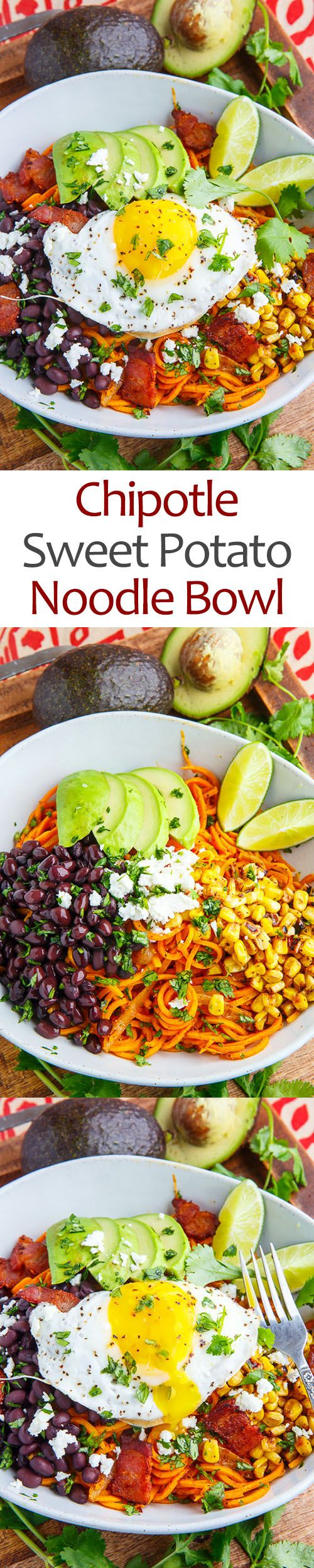 Chipotle Sweet Potato Noodle Bowl.  We made this with chimichurri sauce.  It was great!