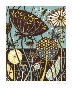 Angie Lewin Clifftop IV linocut - Art Greeting Card 2.35