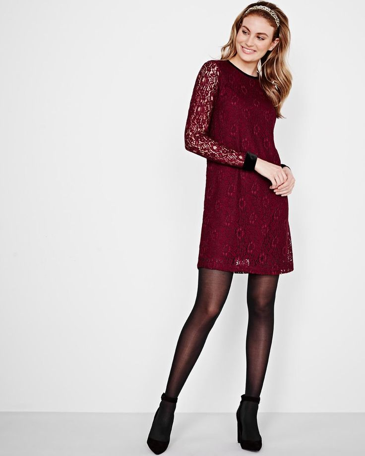 The detailed cord lace and velvet trims bring rich dimension to this gorgeous shift dress that's ideal for first dates or important events.<br /><br />- Exclusively online<br />- Shift silhouette<br />- Long see-through sleeves<br />- Round neckline with velvet trim<br />- Velvet cuffs<br />- Keyhole back with button<br />- Body lining<br />- 36'' length<br />-...