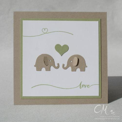 Karte zur Hochzeit in 10,5 x 10,5 cm mit Martha Stwerad Elefanten und den Stampin' Up! Stempelset Hello Life #CarosBastelbude #StampinUp # Hochzeit