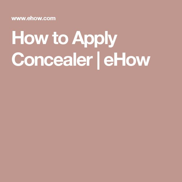 How to Apply Concealer | eHow