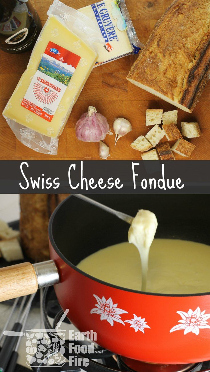 A traditional Swiss Cheese fondue for two, made just like it is in Switzerland. Perfect for sharing or a dinner party. via @earthfoodfire