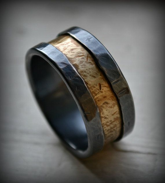 mens wedding band rustic fine silver and brass ring handmade oxidized artisan designed wedding band custom ring custom hand stamping - Rustic Wedding Rings