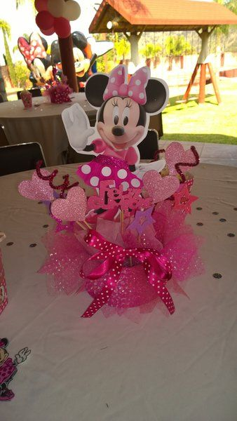 Minnie Mouse pink centerpiece, party decoration, birthday centerpiece, Minie mouse centerpiece inspirated, 4 centerpiece | Happy Party