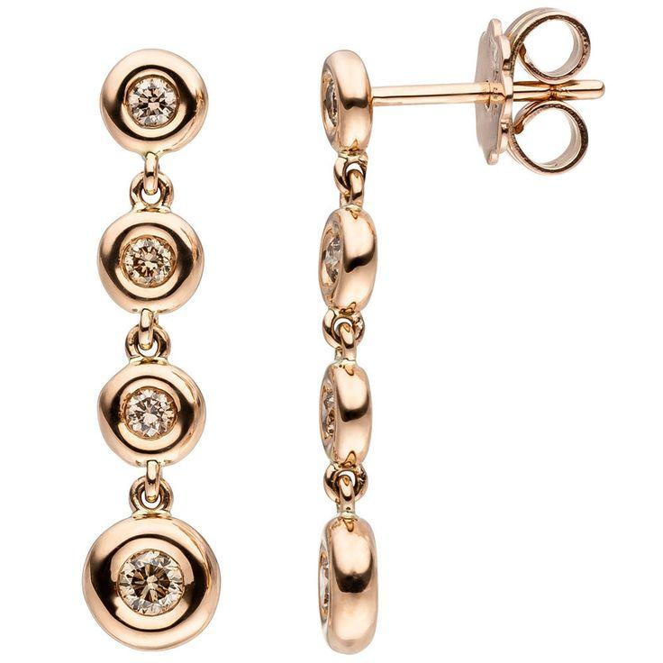 Neu Diamanten Ohrringe echt Gold 585 14 Karat 0,34 ct. Rosegold 585er Ohrhänger