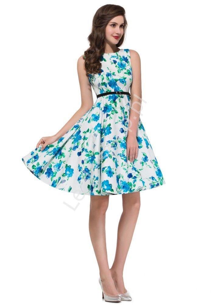 Sukienka dla dziewczynki w niebieskie kwiaty   sukienki w stylu pin-up, retro sukienki dla dziewczynek
