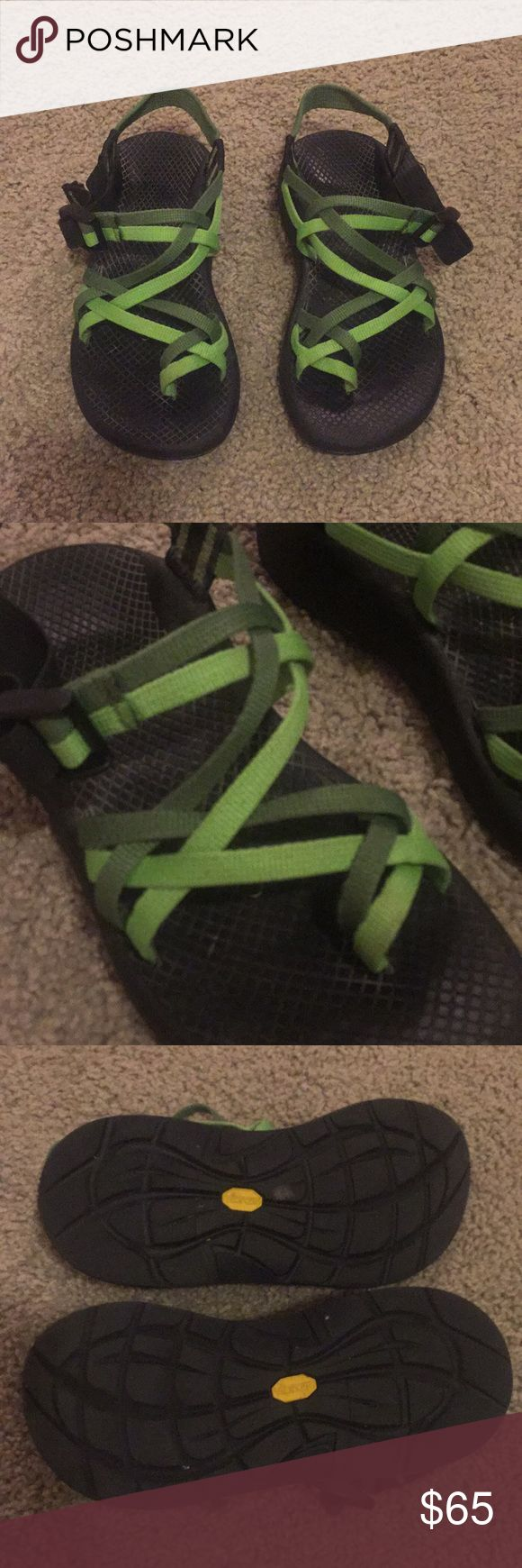 CHACOS! Excellent condition! Authentic chacos! Size 6 in women's, double strap with a toe strap, two tone green, Vibram soles. The straps are still easy to adjust 🙃 offers welcome but no lowballing please 😄💕 Chaco Shoes Sandals