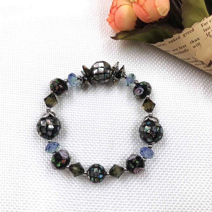 UneJoux Fashion Bracelet With Abalone Shell & Swarovski Crystal FBL-6