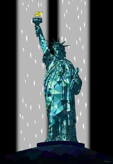 "by. JuYoung.K [자유의 여신상_9.11(Statue of Liberty_9.11)],  2015, digital image,  ""A""  Facebook : https://www.facebook.com/JuyoungK89 Blog : http://blog.naver.com/juyoungk89 Twitter : @JuYoungK89 tumblr : http://juyoungk.tumblr.com/ Kakao Talk ID : idealWorld  #9.11 #9/11 #911 #TwinTower #911memorial  #StatueofLiberty #cityscape #Newyork #terror #art #artwork #cloud #Sun #fish #digitalimage #digital_image #fineart #illustration #animal"
