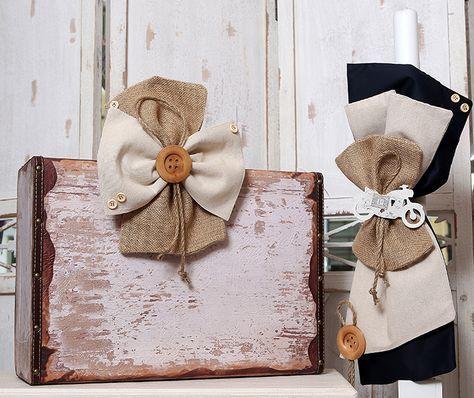 Σετ λαμπάδα vintage βαλίτσα,λαδοπανα,λαδοσετ