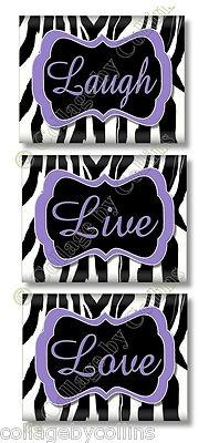 Zebra Print Live Love Laugh Quote Art