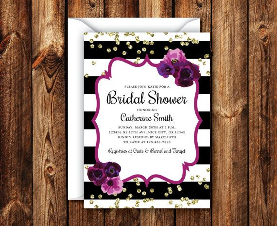 Purple and Gold Bling Bridal Shower by NorthwestDesignCo on Etsy