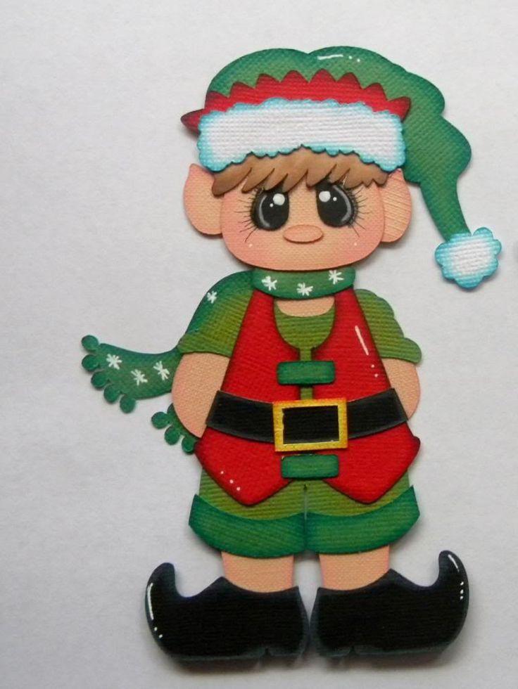 Elf Boy Paper Piecing, for Scrapbook Layout, Santa, Christmas 0004
