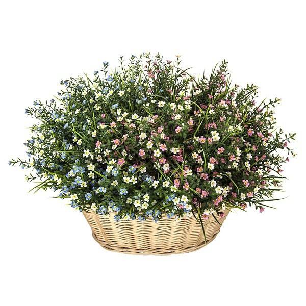 Cesta flores mini bell artificiales for Plantas ornamentales artificiales