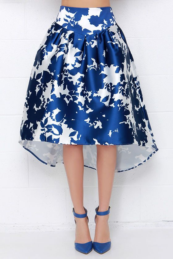 Sumptuous Someone Ivory and Royal Blue Print High-Low Midi Skirt at Lulus.com!