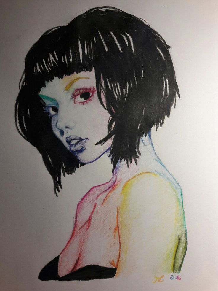 I found a drawing, that inspired me. I don't know the artist. But here my artwork. The Colorful Girl. Pencil drawing