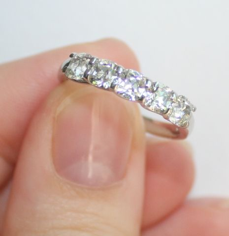 August vintage cushion wedding band