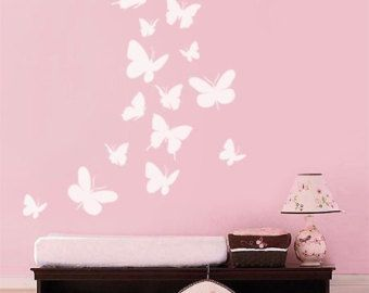 Wall decal Butterflies Set of 16 Nursery Kids Vinyl Wall Decal Baby Room Decor Art