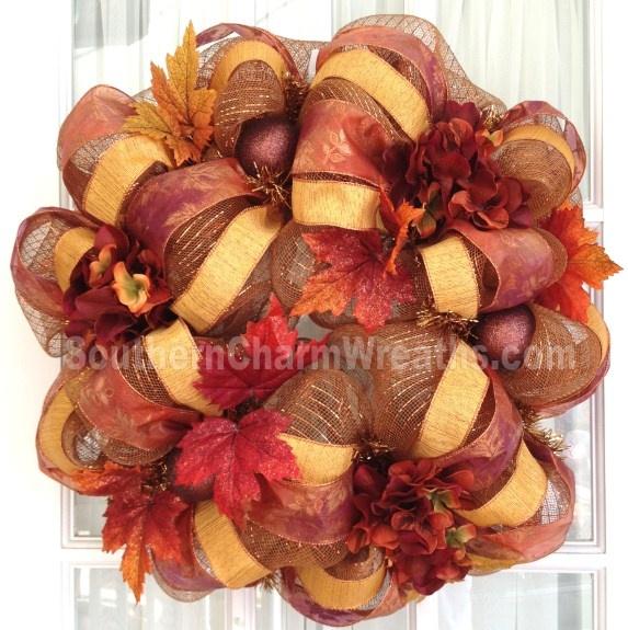 Deco Mesh Fall Wreath Copper Brown Burgundy Orange Leaves #decomesh