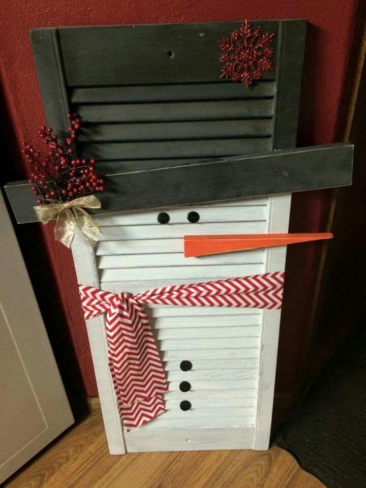 Snowman shutter | Old Shutters | Christmas Crafts, Snowman ...