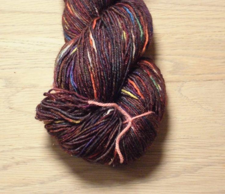 Tweed Superwash Handdyed Bluefaced Leicester - Brown Nylon Wool Fingering Sock Weight Yarn 3-ply Rainbow Tweed Brown, EU Seller