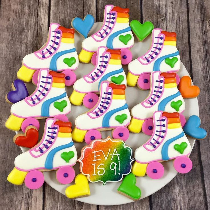"219 Likes, 7 Comments - Whoo's Bakery? (@whoosbakery) on Instagram: ""Rollin into this week with these fun rainbow roller skate cookies! #rainbowcookies…"""