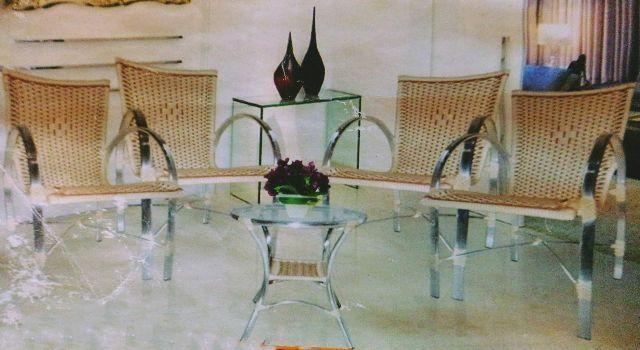 Cadeira de fibra sintética junco e aluminio, novo modelo de jardim