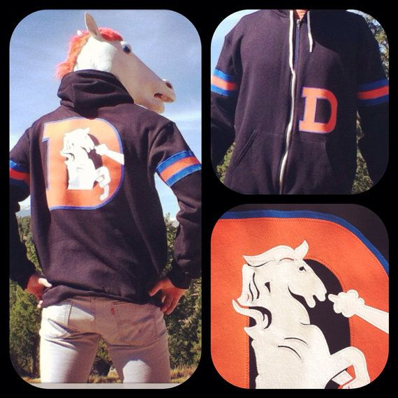 LIMITED ***BLACK*** The Throwback Varsity Denver Broncos Hoodie by Frozen Kiss Custom Sewn fabric retro graphics on Etsy, $130.00