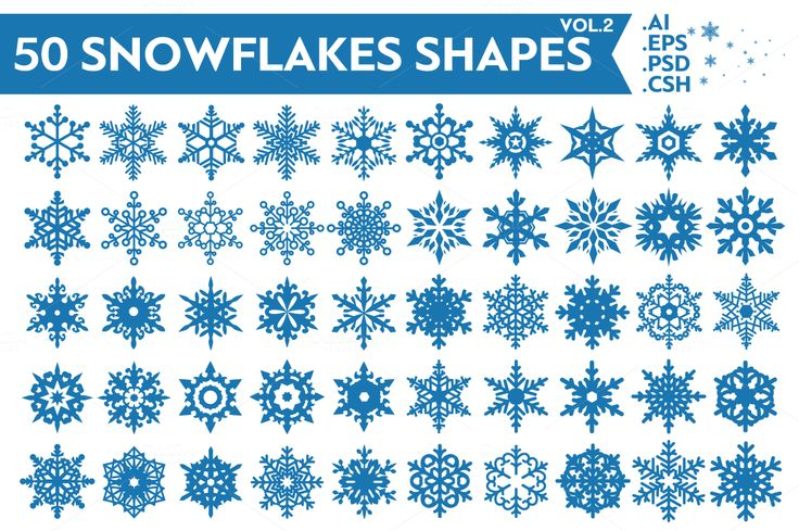 50 Snowflakes Vector Shapes Vol.2 Format: Ai, Eps, PSD, CSH (Photoshop Custom Shapes) You can find Vol.1 here: