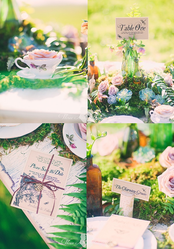 Vintage crockery used in garden wedding setting