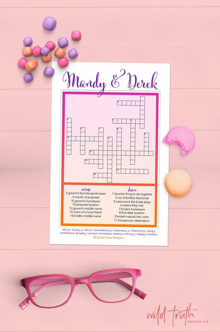 Totally Custom Wedding Crossword Puzzle >> Quiz guests on how well they know the happy couple! Perfect game for receptions, rehearsal dinners, showers, & engagement parties.