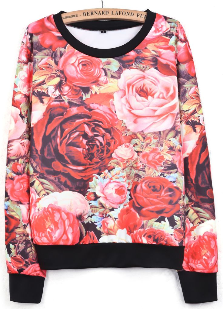 Red Long Sleeve Rose Print Loose Sweatshirt - Sheinside.com