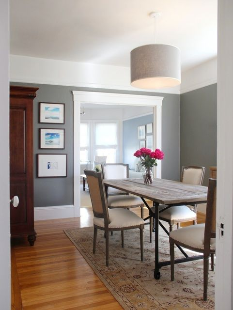 Benjamin Moore Chelsea Gray In A Dining Room With White Cove Ceilings. Find  This Pin And More On Paint Colors With Dark Wood Trim ...