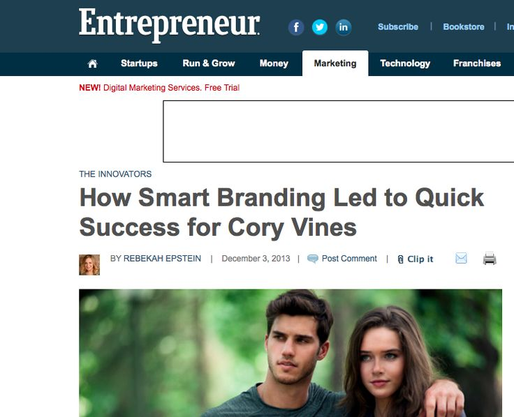 """""""When it comes to business, it doesn't always matter how many years of experience you have under your belt. Sometimes if you have a good idea combined with killer branding, you can find success right away. Just look at Cory Vines""""  Read more: http://www.entrepreneur.com/article/230051#ixzz2mcV9dZ4x"""
