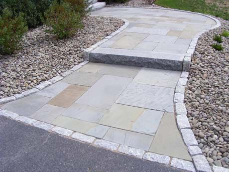 Great Woodbury Gray Granite Step And Edging Mixed With Bluestone Paving Stones  Create This Front Entrance Walkway