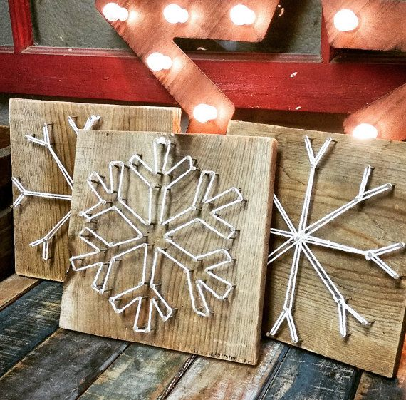 Items similar to String Art Snowflakes on Etsy