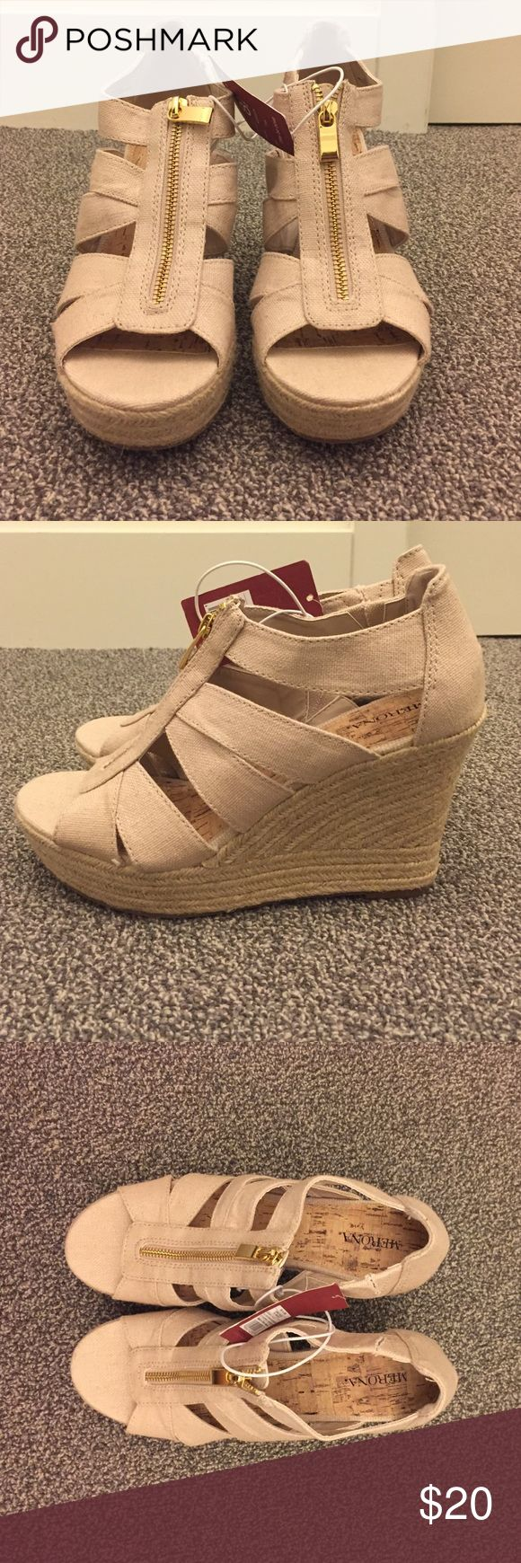 Women's size 8.5 Merona espadrille wedges Women's size 8.5 Merona nude espadrille zipper Wedges. Never worn. New with tags. Merona Shoes Espadrilles