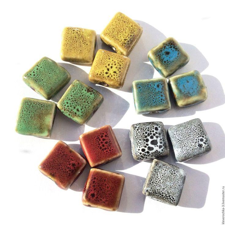 Купить Керамические бусины 16 мм 5 цветов квадрат для украшений - ceramic porcelain beads