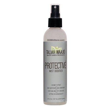 Taliah Waajid - Total Body Black Earth Protective Mist Bodifier. SANS PARABEN. Le Protective Mist Bodifier est un conditionneur revitalisant quotidien sans rinçage.  Peut aussi être utilisé pour défaire des tresses et pour le démêlage des cheveux bouclés.  Utiliser sur cheveux secs ou mouillés. Il protège et adoucit la courbe naturelle du cheveu.  Ce qui rend le peignage facile et des coiffures durables.