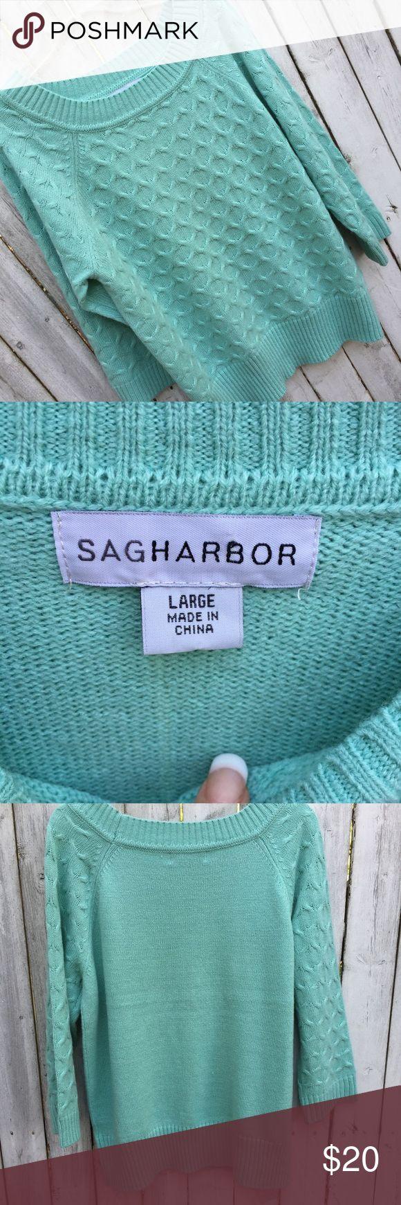 Sag harbor green 3/4 sleeve sweater L Sweater in excellent condition Sag Harbor Sweaters Crew & Scoop Necks