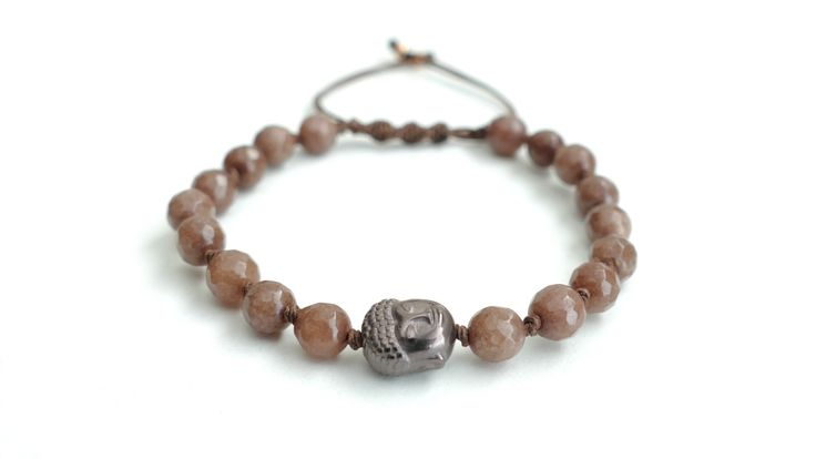 Macrame bracelet from Brown Agate and the symbol of Buddha from silver plated Hematite -Price:19€