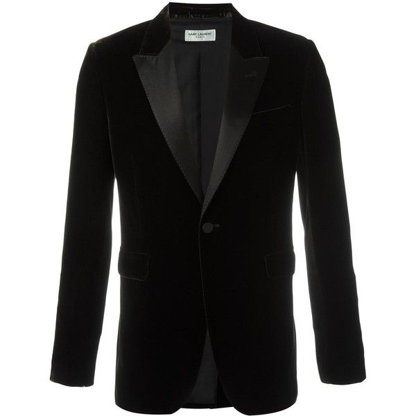 Saint Laurent 'Iconic Le Smoking 70's' velvet blazer (56,700 MXN) ❤ liked on Polyvore featuring men's fashion, men's clothing, men's sportcoats and brown
