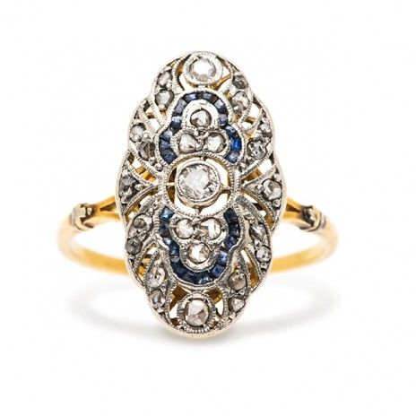 Edwardian Diamond & Sapphire Engagement Ring