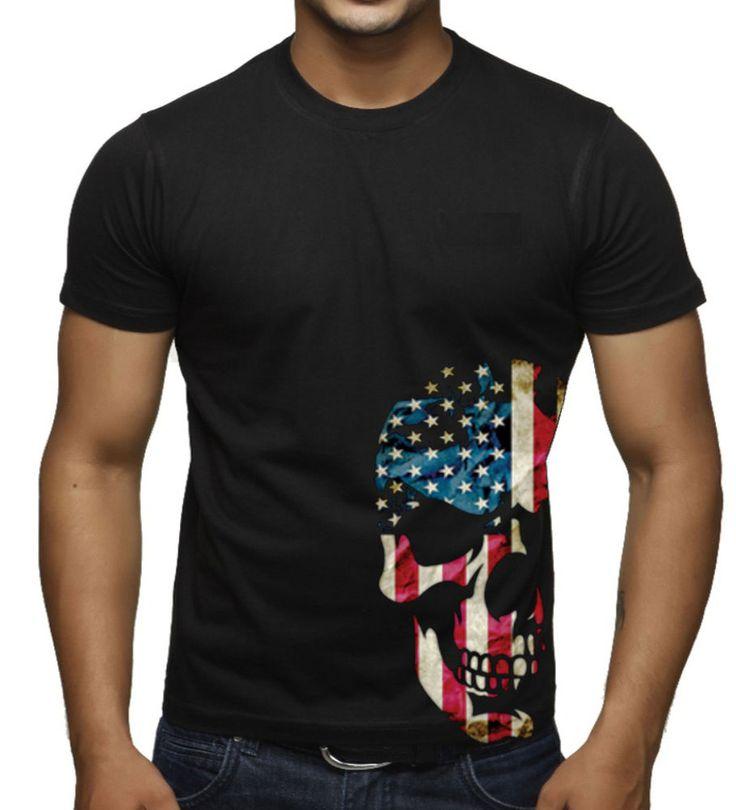 Men's American Skull Bottom Black T Shirt US Flag Biker Motorcycle Graphic Tee | Clothing, Shoes & Accessories, Men's Clothing, T-Shirts | eBay!
