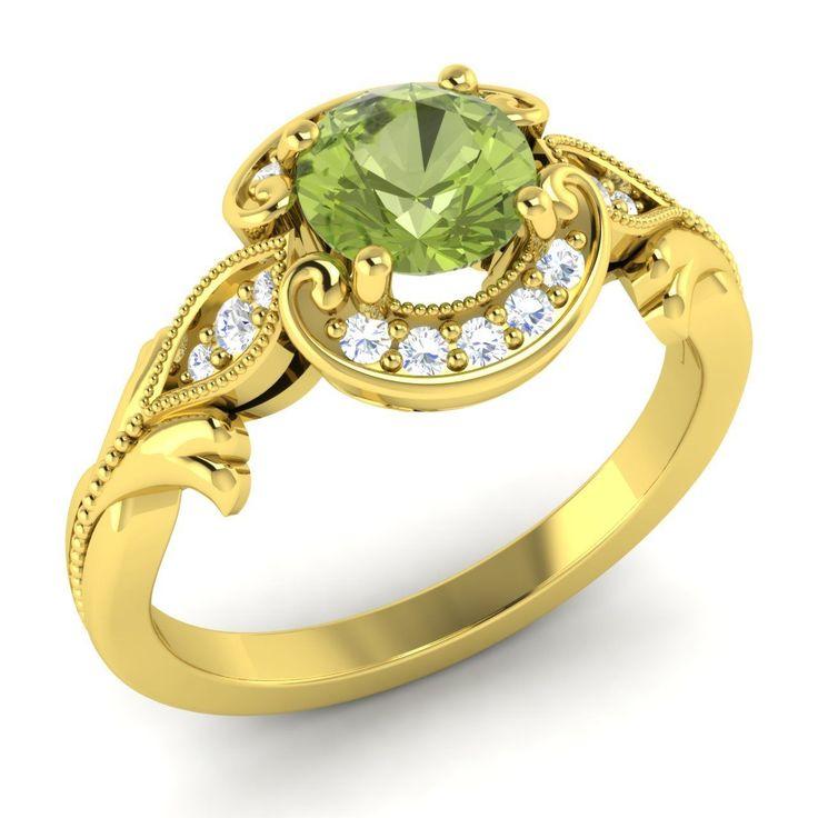 Certified AAA Peridot & SI Diamond Halo Engagement Ring For Women Jewelry   eBay
