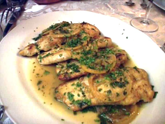 P. 91 Sopranos Cookbook. Chicken Francese. Chicken cutlets, eggs, all-purpose flour, chicken broth, white wine, lemon juice, unsalted butter, flat-leaf parsley, lemon wedges.